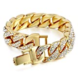 SEVENSTONE Mens Womens Chain Hiphop Curb Bracelet Cuban Silver Gold Plated Bracelet Clear Rhinestones (Color: 1-Gold)
