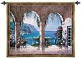 Fine Art Tapestries Mediterranean Arch Wall Tapestry 3432-WH 53 inches wide by 42 inches long, 100% cotton