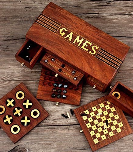 Collectible 4 in 1 - Chess Set, Checkers, Nine Men's Morris & Tic-Tac-Toe - Indoor Board Games - 10.5 x 6 inches - Travel Accessory - Family Kids Holiday Fun