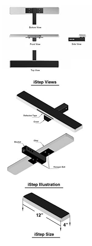 iStep Universal 14 Sliver Aluminium Rear 2 Class 3 Receiver Mount Hitch Step HitchStep Rear Roof Rack Bed