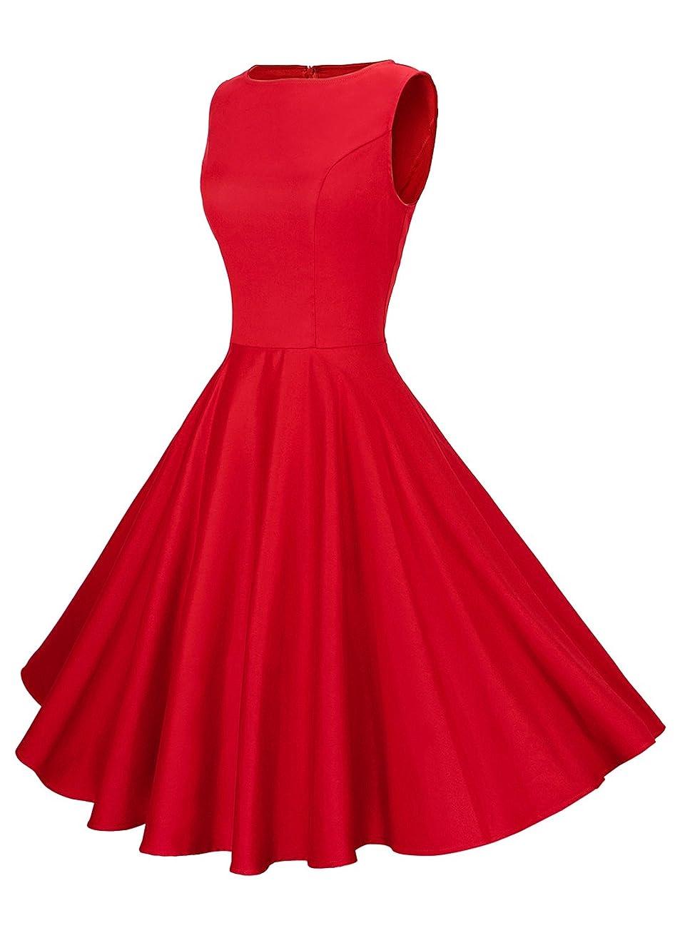 Anni Coco Women's Classy Audrey Hepburn 1950s Vintage Rockabilly Swing Dress 1