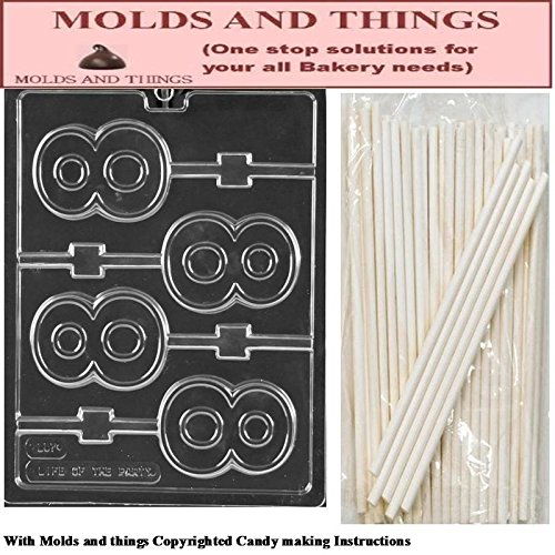 Number 8 Lolly numbers and letters Chocolate candy mold With Candy Making Instruction - set of 2 molds with 25 sticks (Chocolate Mold Number 8 compare prices)