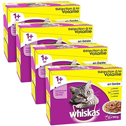whiskasr-selection-a-la-volaille-en-gelee-1-sachets-fraicheur-pour-chats-12-x-100g-lot-de-4