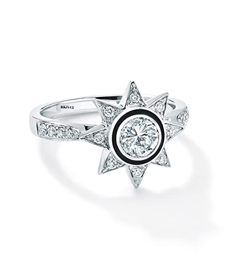 Brilliant Cut D/VVS 1.62ct Round Simulated Diamond Black Enemal 14k White Gold Engagement Wedding Bridal Vintage Womens Ring,All Size Available