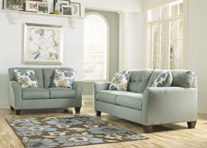 Contemporary Loveseat in Lagoon