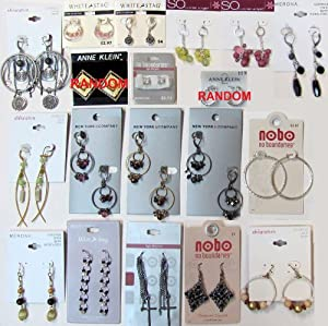 19 pairs of Earrings on retail cards WHITE STAG NOBO NO BOUNDARIES NEW YORK & COMPANY Below Wholesale Jewelry Lot Costume Fashion Mixed Inventory Liquidation Clearance Sale