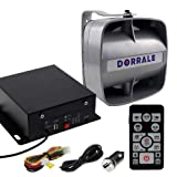 DORRALE Car/Truck Police Siren 100W DS7300 Wireless Amplifier with Silver Meter Ultra Slime Flat Speaker,DC12V,Multi-Tones,Two Lights Control,Emergency Electronic Siren Signal PA System (Color: Silver)