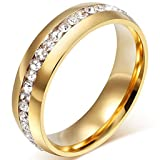 Chryssa Youree Mens Womens 6MM Stainless Steel High Polished Gold Silver Channel Cubic Zirconia CZ Promise Engagement Band Unisex Wedding Ring Size 5 to 12(SZZ-023) (Size 8, Gold) (Color: Gold, Tamaño: Size 8)