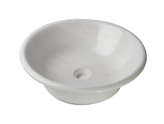 Grande lavabo in marmo pregiato, colore: bianco/White, pezzo unico, Ø/H: 47/14cm, peso: ca. 12kg