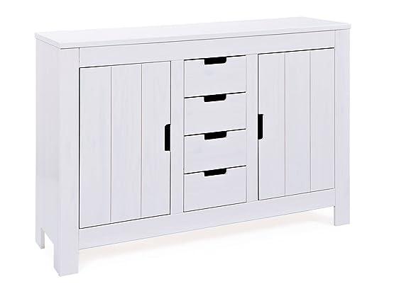 Interlink Bertram petto/4-drawers a 2ante in legno di pino, colore: bianco