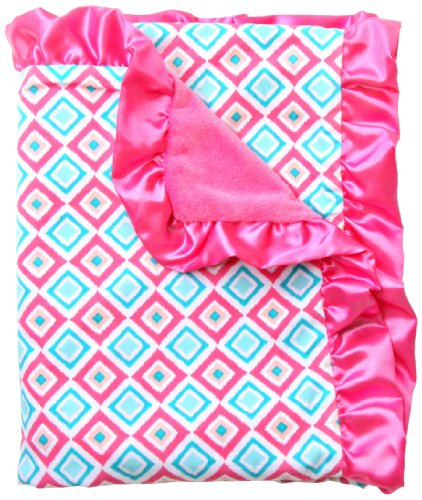 Caden Lane Ikat Collection Diamond Ruffle Blanket, Pink - 1