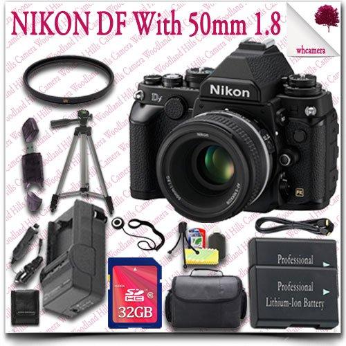 "Nikon Df Cmos Fx-Format Digital Camera With 50Mm F/1.8G Lens (Black) + 32Gb Sdhc Class 10 Card + Hdmi Cable + Slr Gadget Bag + 57"" Tripod 15Pc Nikon Saver Bundle"
