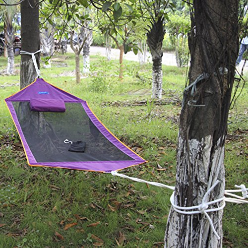 breathable cotton canvas hammock portable without stent-Purple