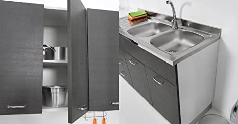 Mobile Floor 135 x 60 for Kitchen Double Door ABBINABILE to Stainless Sink in Three Colours Tela Grigio