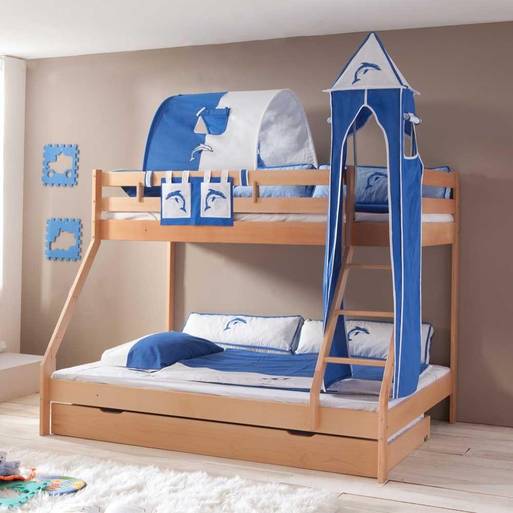 Buche Etagenbett mit Turm und Tunnel in Blau Weiß 140×200 Pharao24 günstig kaufen