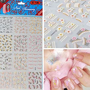 3D MIx Flower Lace Nail Art Stickers Glitter Stamping Nail Decals