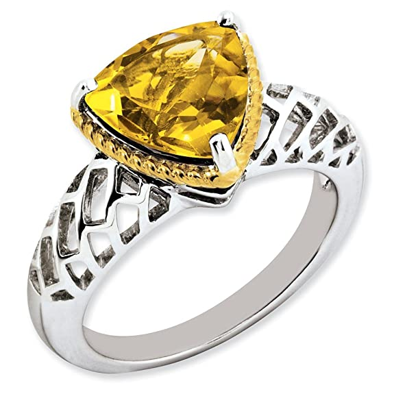 Sterling Silver w/ Flash Gold-plate Citrine Ring