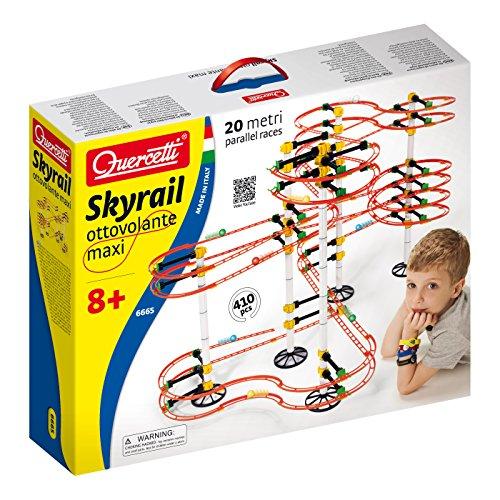 Quercetti 6665 Skyrail - Circuito de bolas maxi (410 piezas, 20 metros de pista)