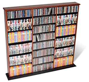 Prepac Cherry Triple Width Wall Media (DVD,CD,Games) Storage Rack