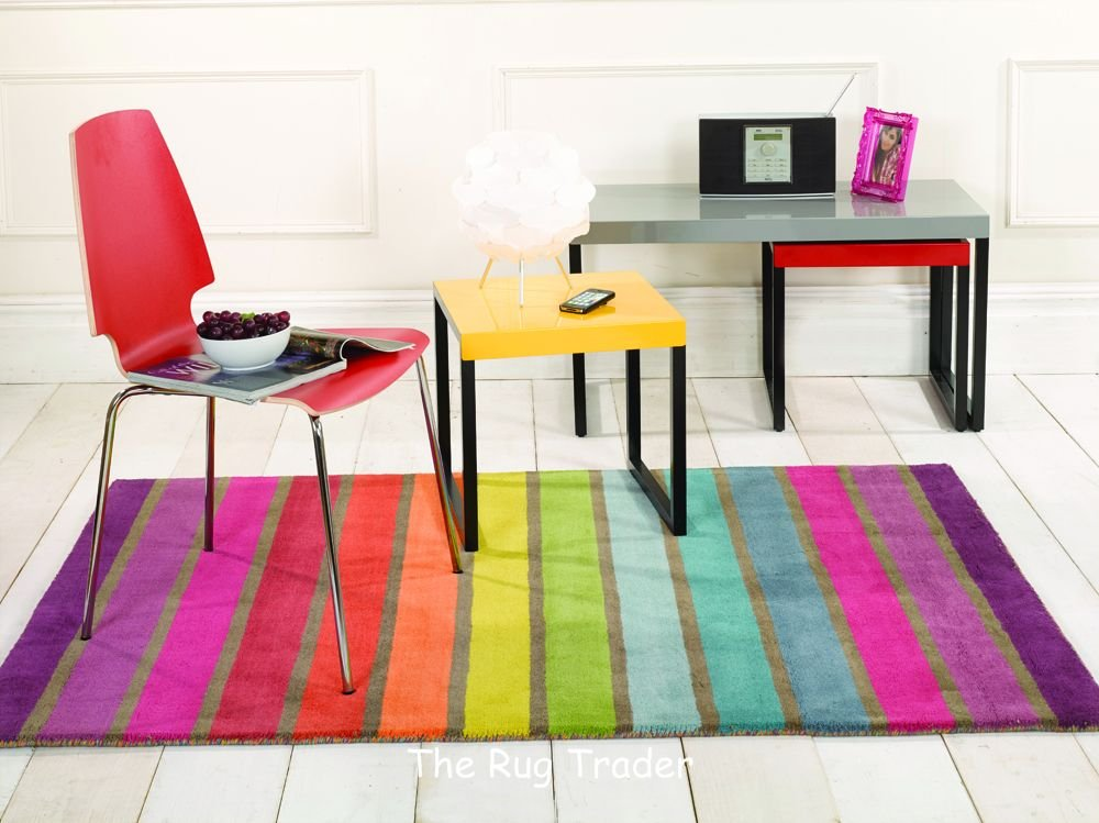 Illusion Candy Stripe Multi Coloured Wool Rug in 3 Sizes (160cm x 220cm)       reviews and more news