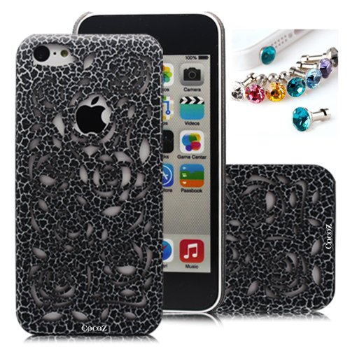 Review:  Cocoz®romantic Black Rose Carved Palace Fashion Design Hard Case Cover Skin Protector for Iphone 5c At&t Sprint Verizon Retail Packing(pc) H014