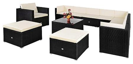 Luxus Poly Rattan Lounge Set Creme Schwarz XXXL ✔ exklusive 35 tlg. Poly Rattan Sitzgruppe ✔ Einzelelemente flexibel kombinierbar ✔ UV-beständiges Polyrattan ✔ Sitzgarnitur Couch Sitzgruppe ✔ Modellauswahl