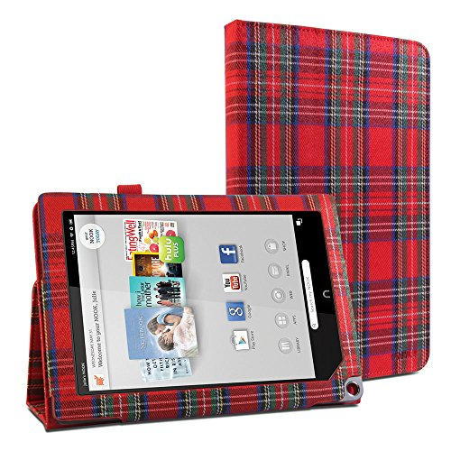 gmyler-folio-case-classic-for-barnes-noble-nook-hd-plus-9-rouge-royal-stewart-pattern-textile-slim-s