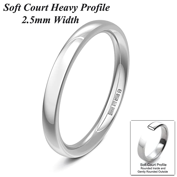 Xzara Jewellery - 18ct White 2.5mm Light Gentle Court Hallmarked Ladies/Gents 2.5 Grams Wedding Ring Band