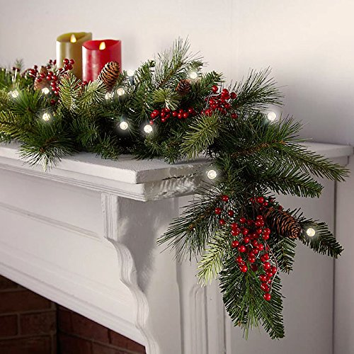 Cordless LED Pre-lit Cone & Berry Christmas Garland