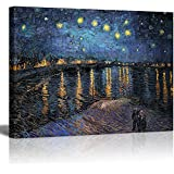 """Wall26 - Canvas Print Wall Art - Starry Night over The Rhone by Vincent Van Gogh Reproduction on Canvas Stretched Gallery Wrap. Ready to Hang - 18""""x24"""""""
