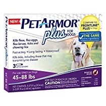 PetArmor 3 Count Plus for Dogs Flea and Tick Squeeze-On, 45-88 lb.