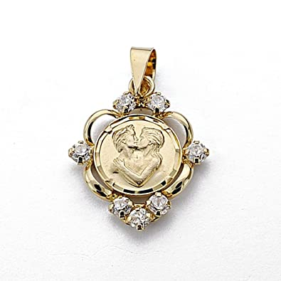 18k gold pendant 20mm medal love. love zircons [7944]