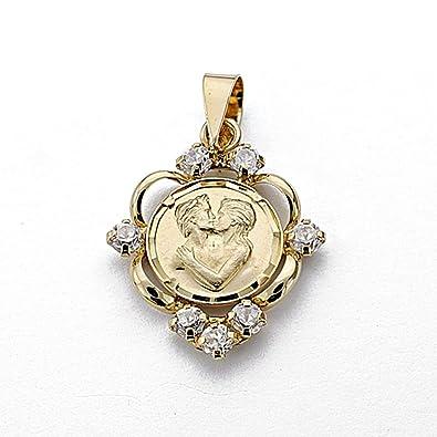 18k gold pendant 20mm medal love. love zircons [7944]
