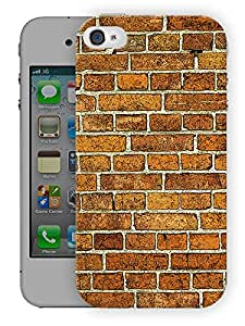 "Humor Gang Brick Wall Pattern Printed Designer Mobile Back Cover For ""Apple Iphone 4-4S"" (3D, Matte, Premium Quality Snap On Case)"