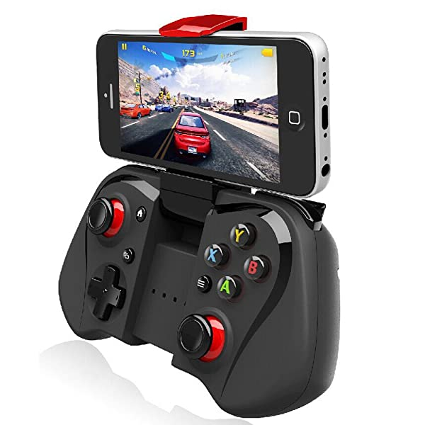 Megadream Bluetooth Android Gaming Controller Joystick with Phone Clamp for Android Smartphone Samsung Galaxy S8+ S7Edge S6 Note 8 Tablet - Support Windows 8 7 XP System & Android TV box / Android TV