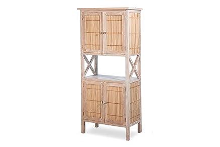 Mobile incannucciato - Slimmer - Teak massello e bambù