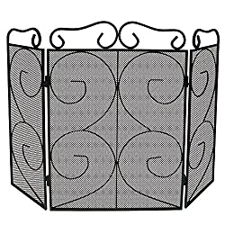 Lizh Metalwork 3-Panel Scroll Fireplace Screen,Black from Lizh Metalwork