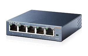 Interruptor de escritorio de 5 puertos Gigabit  TP-LINK TL-SG105, de acero, 10/100/1000 /Mbps, ahorra hasta 65% de enrgía, soporta IEEE 802.0p QoS.