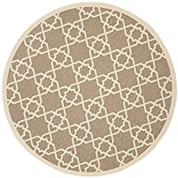 Safavieh Courtyard Collection CY6032-242 Brown and Beige Indoor/ Outdoor Round Area Rug, 5 feet 3 inches in Diameter (5\'3\