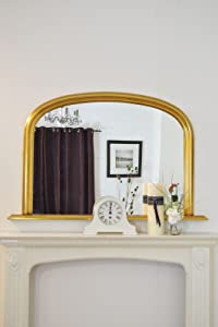 Classic French Inspired METALLIC GOLD Overmantle Mirror with Elegant ARCHED Frame and complete with Premium Quality Pilkington&'s Glass   Overall Size  31inches high x 47inches wide (78cm x 122cm)       review and more information