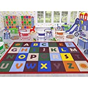 "Ottomanson Jenny Collection Red Frame with Multi Colors Childrens Educational Alphabet Design (Non-Slip) Kids Area Rug, 33"" X 47"", Multicolor"