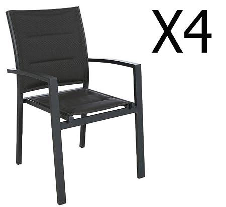 Lot de 4 fauteuils de jardin en aluminium coloris anthracite - Dim : L 62 x P 56 x H 90 cm - PEGANE