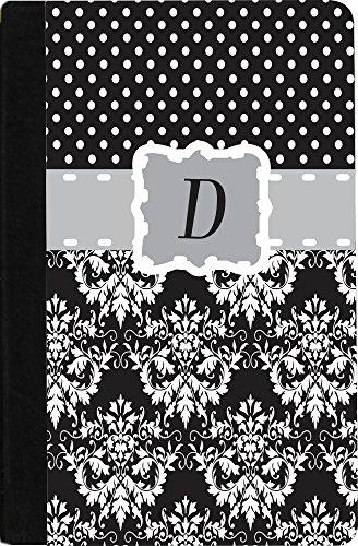 "Rikki Knighttm Rikki Knight Initial ""D"" Grey Black Damask Dots Monogrammed Design Kindle Hd Firetm Notebook Case Black Faux Leather front-579581"