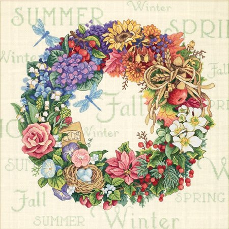 Dimensions Gold Collection Wreath Of All Seasons Counted Cross Stitch Kit: 14x14
