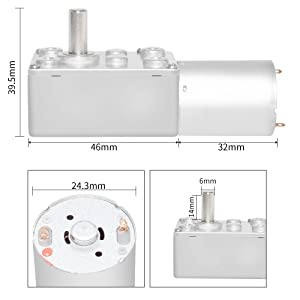 Aobbmok DC Motor 12V Low Speed 20 RPM High Torque Little Geared Motor with Metal Gear Reducer