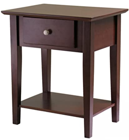 Wooden Nightstand Bedroom Furniture 1 Drawer Clean Lines a Combination of Solid Wood and Antique