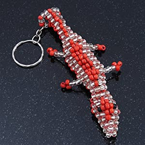 porte clefs breloque crocodile perle de verre transparent corail bijoux. Black Bedroom Furniture Sets. Home Design Ideas