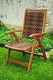 Outdoor Interiors 21050R Copenhagen Collection Resin Wicker and Eucalyptus 5-Position Folding Arm Chair