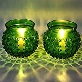 EarthenMetal Handcrafted Traditional Matki Shaped Green Coloured Candlelight Holder-Set Of 2