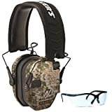 Walker's Game Ear Razor Slim Electronic Muff (Kryptek Camo) BUNDLED with Clear Lens Shooting Glasses (Color: Kryptek Camo bundled with Clear Shooting Glasses)